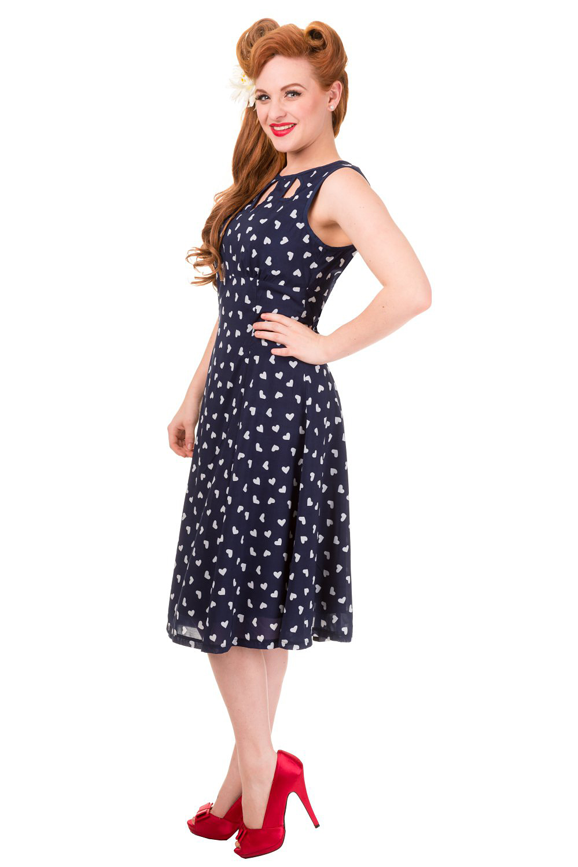 Vintage Navy Hearts Songbird Dress