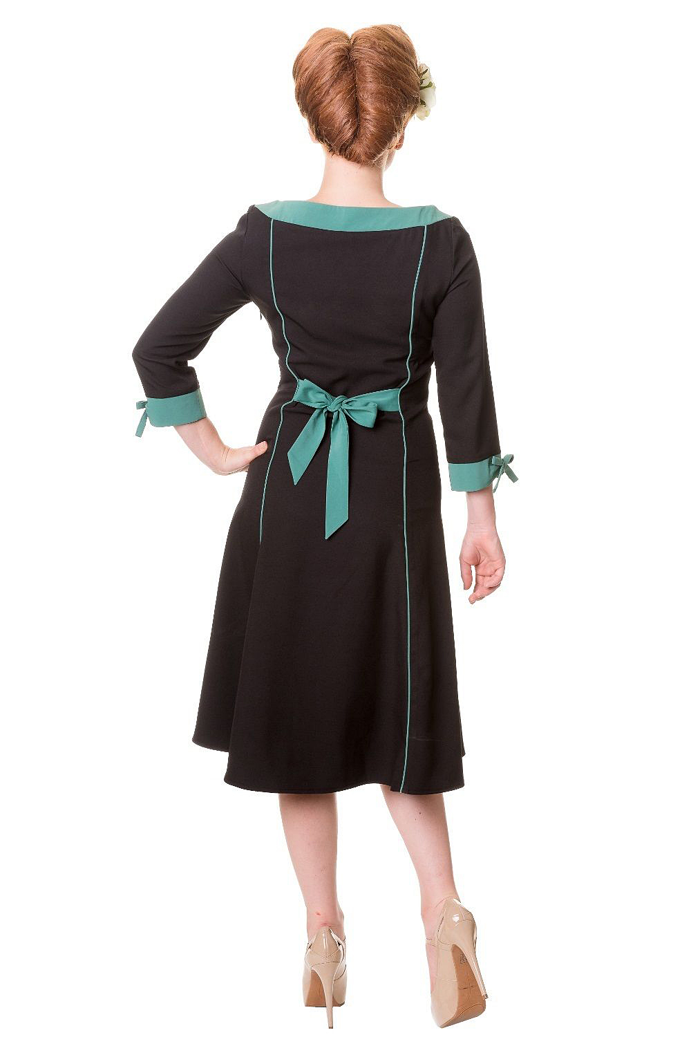Black Green Pinup Rockabilly Vintage 50s Style Flared Party Dress