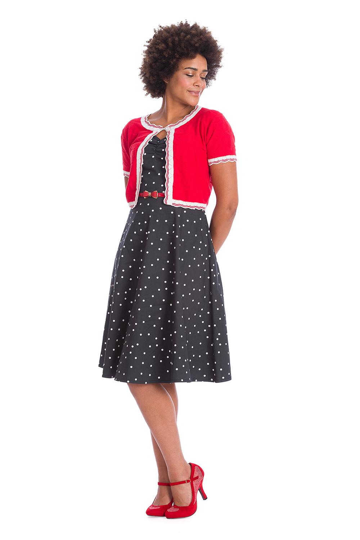 Red White Retro 50s Scalloped Tie Strap Cardigan