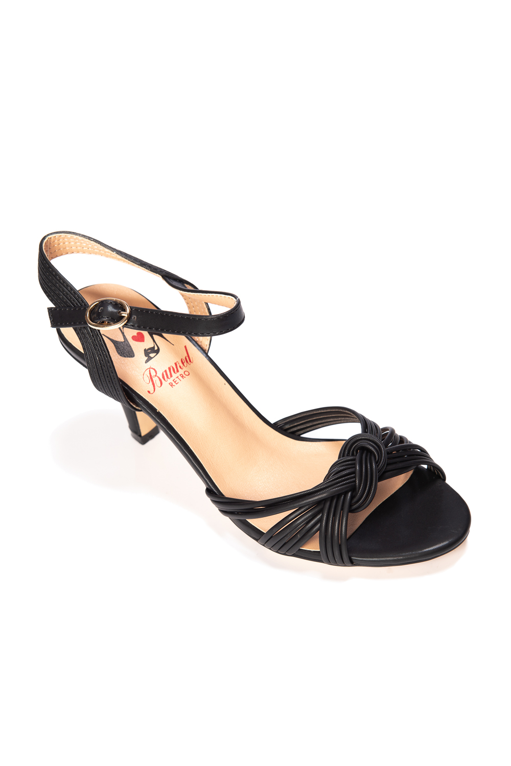 Banned Retro Aneko 40s Black Twist Bow Sandals