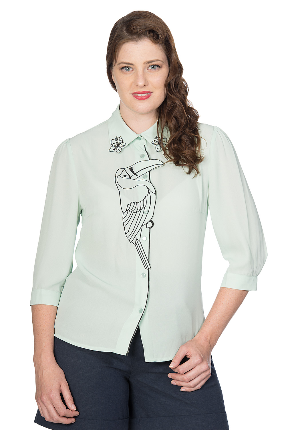 Banned Retro 60s Toucan Blouse In Mint