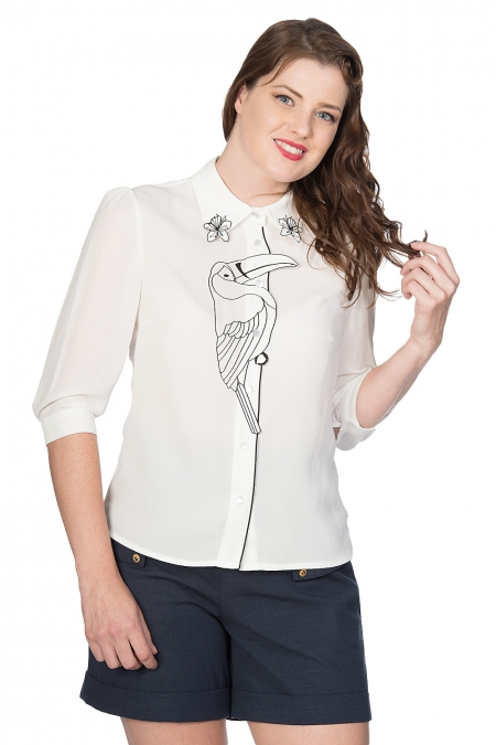 Banned Retro 60s Toucan Blouse In Ivory White