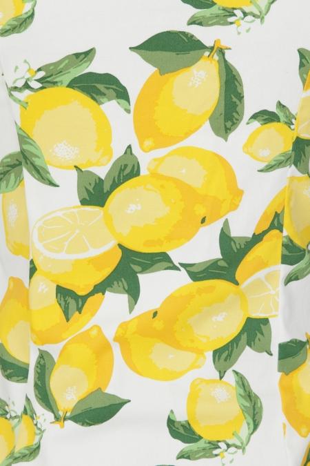Banned Retro 50s Lemon Rockabilly Top In White
