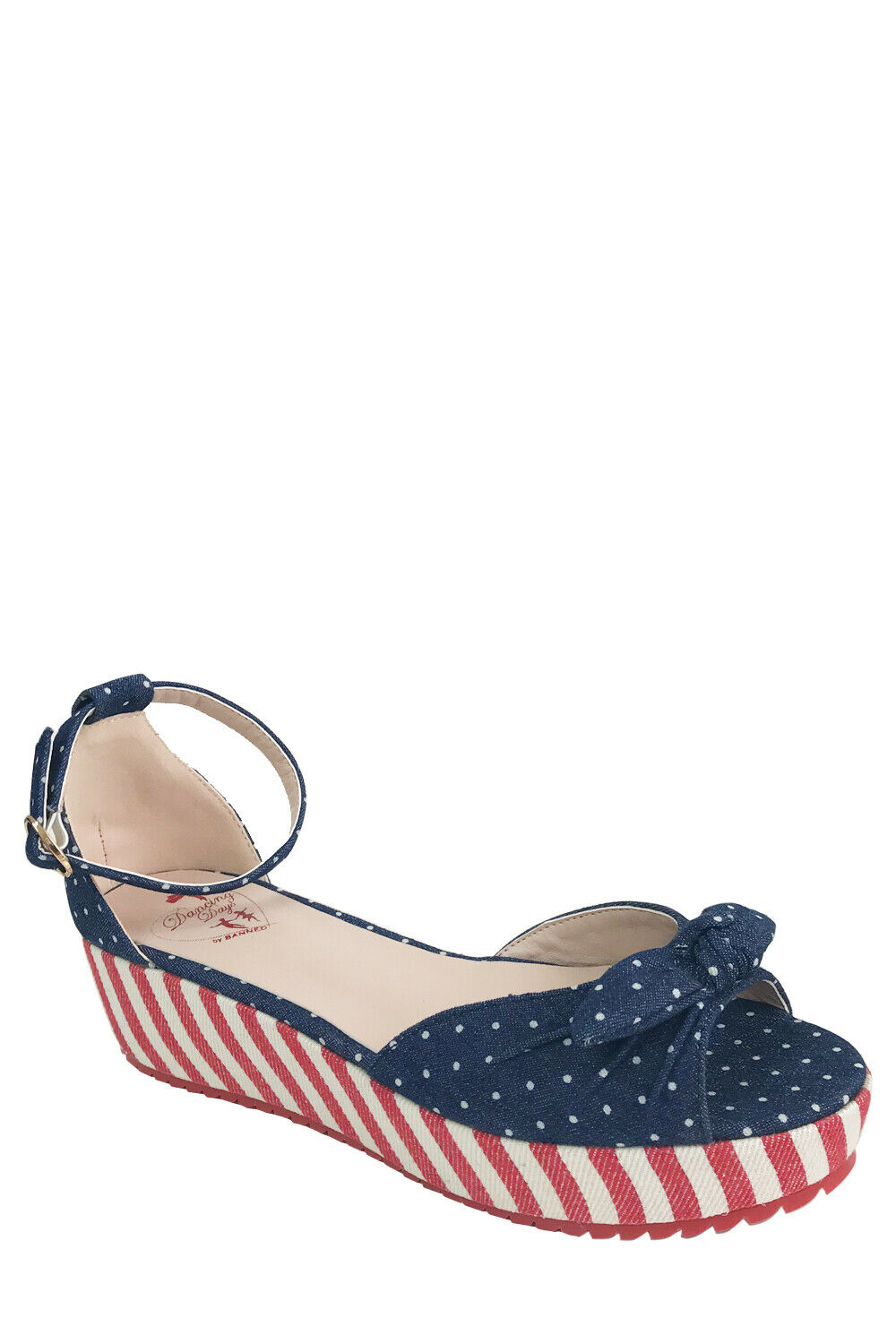 Banned RiRi West 50s Rockabilly Vegan Polka Dot Sandals In Navy