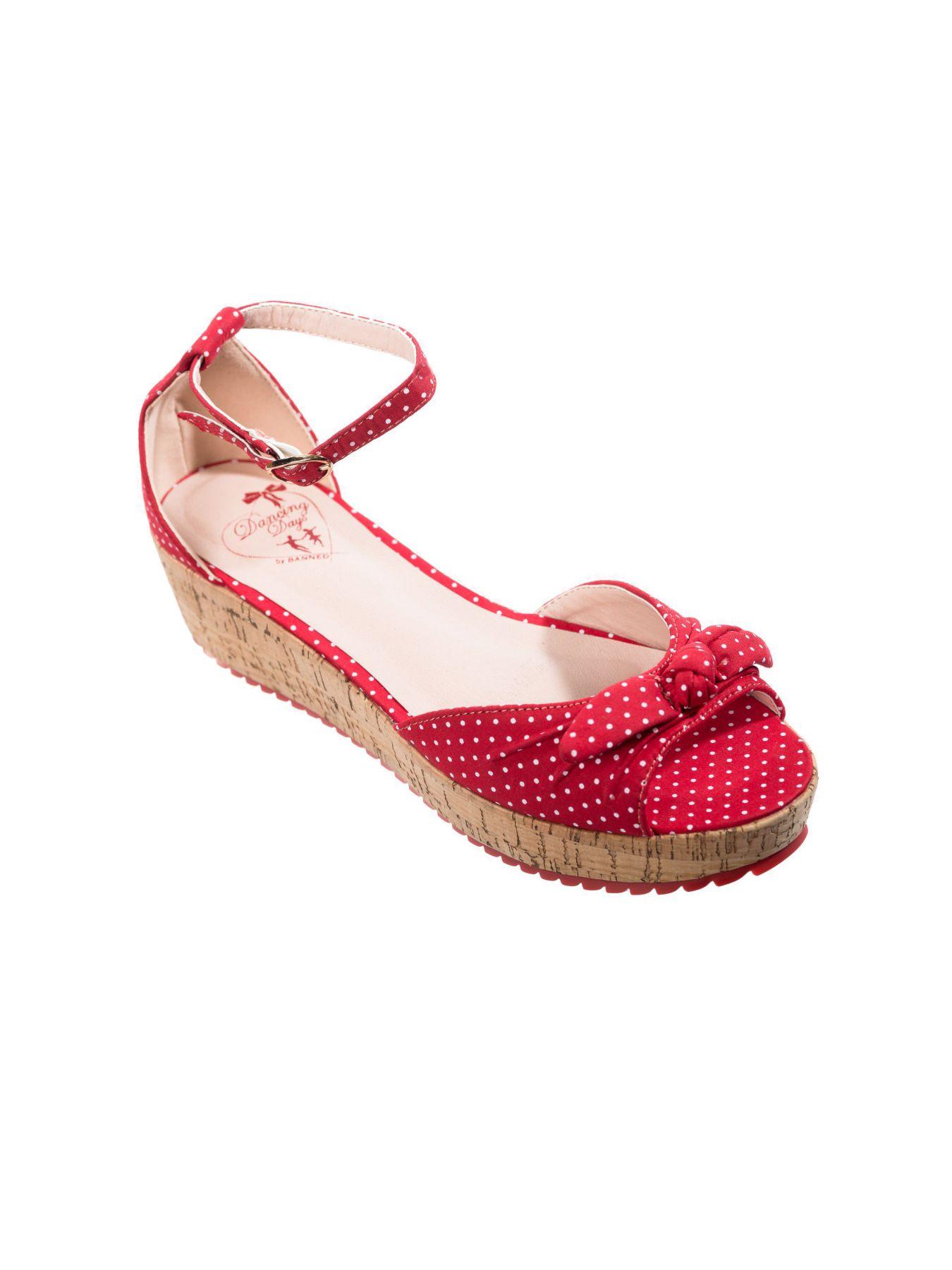 Banned RiRi West 50s Rockabilly Vegan Polka Dot Sandals In Red