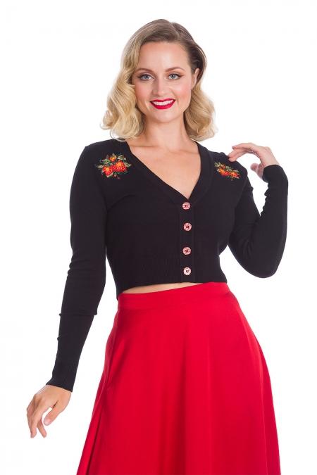 Banned Retro 50s Rockabilly Strawberry Fields Cropped Cardigan