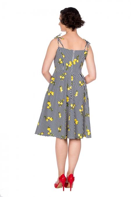 Banned Retro 50s Lemons Stripes Dress In Navy And White Dress