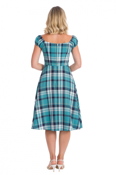 Banned Retro 50s Treat Me Fit And Flare Swing Blue Dress