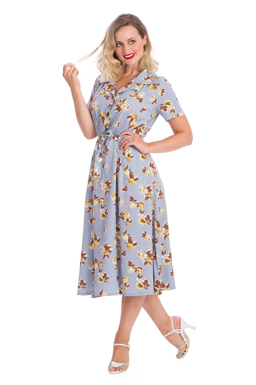 Banned Sweet Tropicana 40s Dress In Light Blue