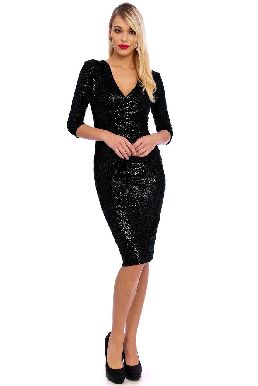 50s Beverley Black Sequin Velour Pencil Party Midi Dress