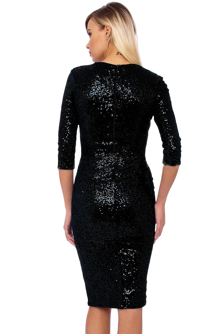 50s Beverley Black Sequin Velour Pencil Party Midi Dress