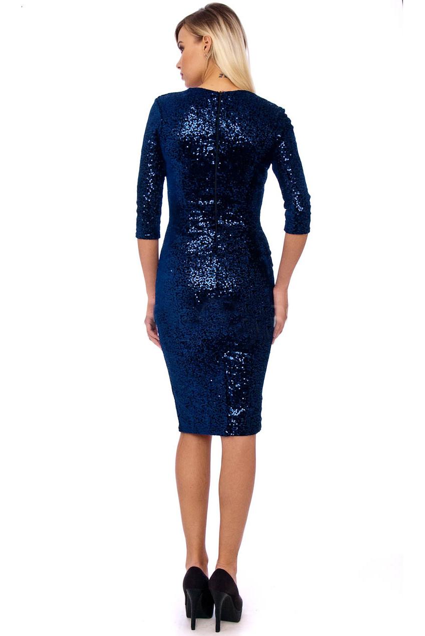 50s Beverley Sequin Velour Pencil Party Midi Dress in Navy