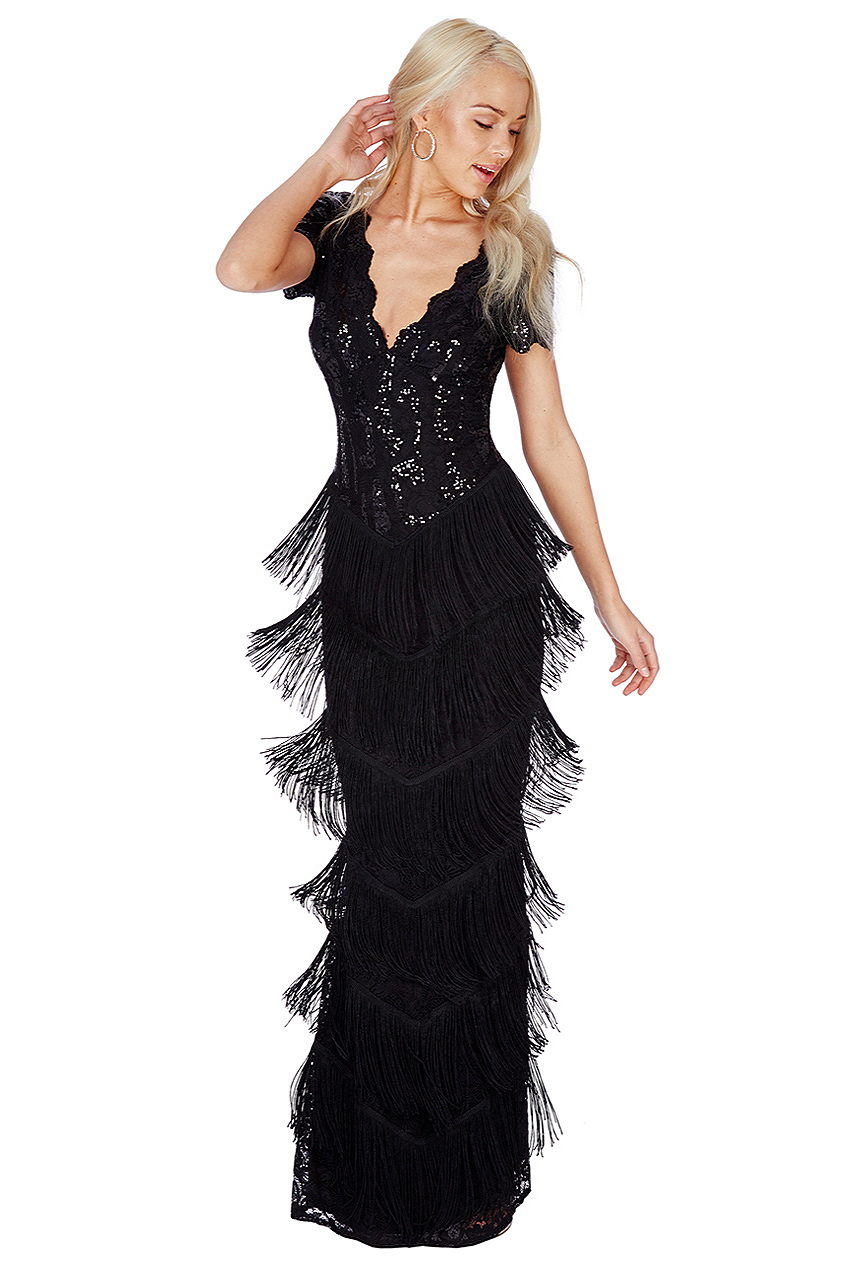 Black Sequin Downton Abbey Style Maxi Tassle Dress