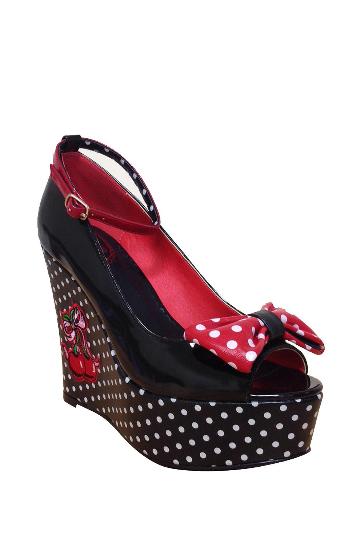 Dancing Days Sophia 50s Platform Cherry Black Shoes
