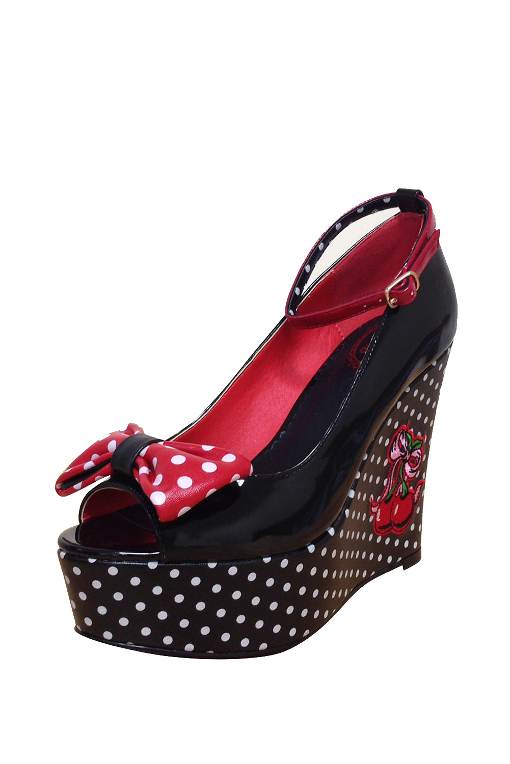 Dancing Days Sophia 50s Platform Cherry Black Shoes