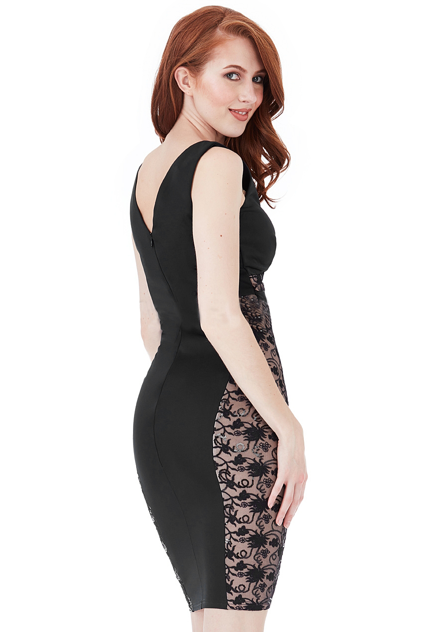 Andrea Glitter Lace Panel Mini Black Dress