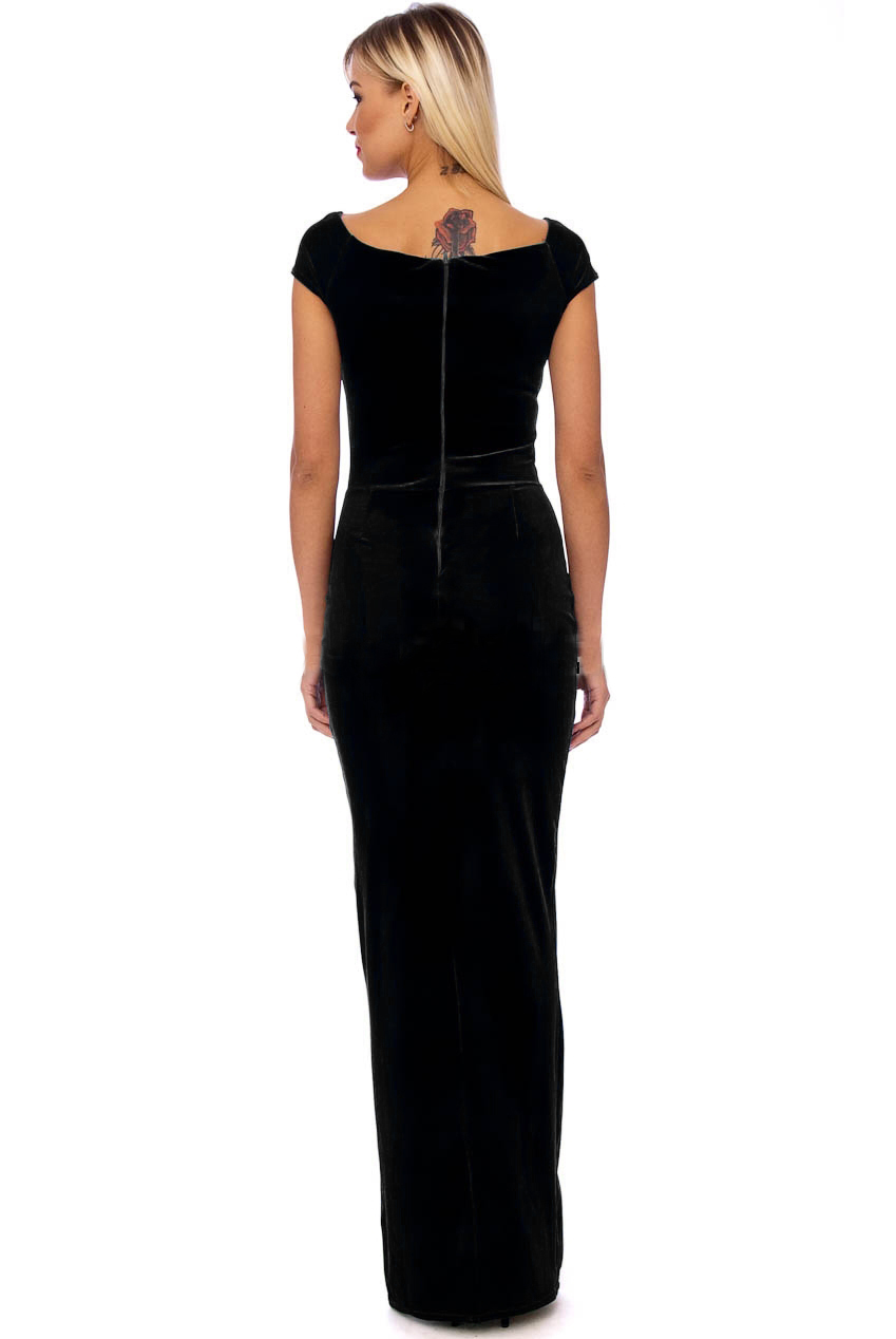 Vintage 50s Black Marilyn Velvet Wiggle Maxi Dress