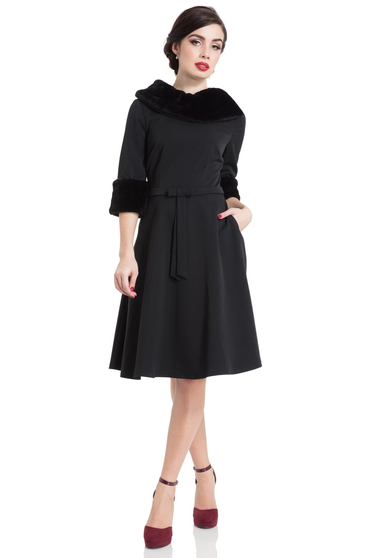 Vixen 40s Tabitha Faux Fur Collar Dress In Black