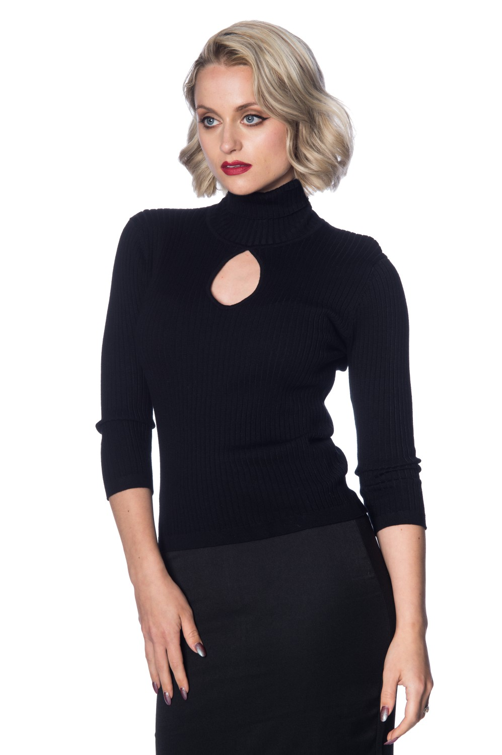 Banned Retro 60s Black Louise Turtleneck Knit Top