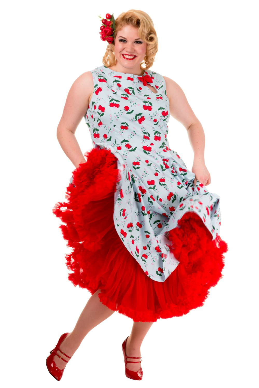 Banned Blindside 1950s Rockabilly Cherry Prom Dress