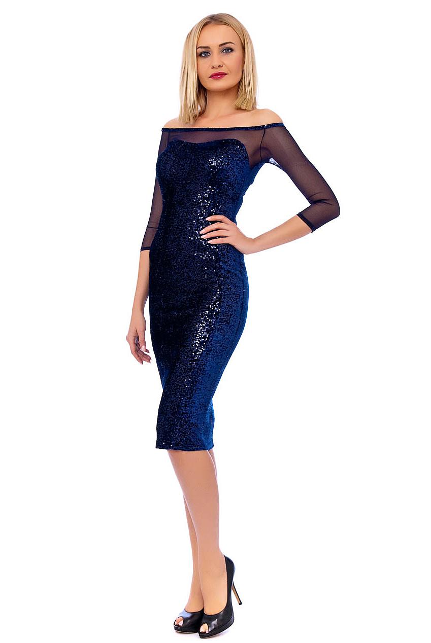 Blue Sequin Crop Sleeved Dress