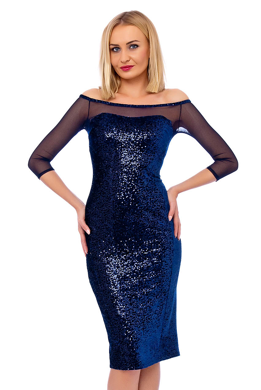 Blue Sequin Midi Prom Dress