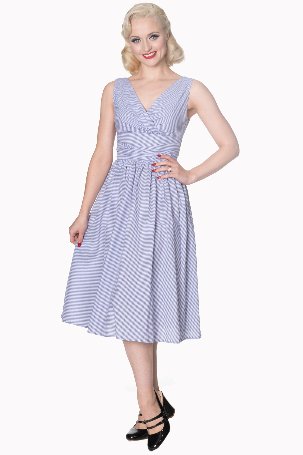 Dancing Days 50s Striped Blue And White Swing Dress