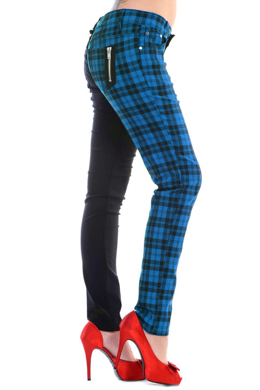 Ladies Banned Blue Half Tartan Skinny 80s Jeans