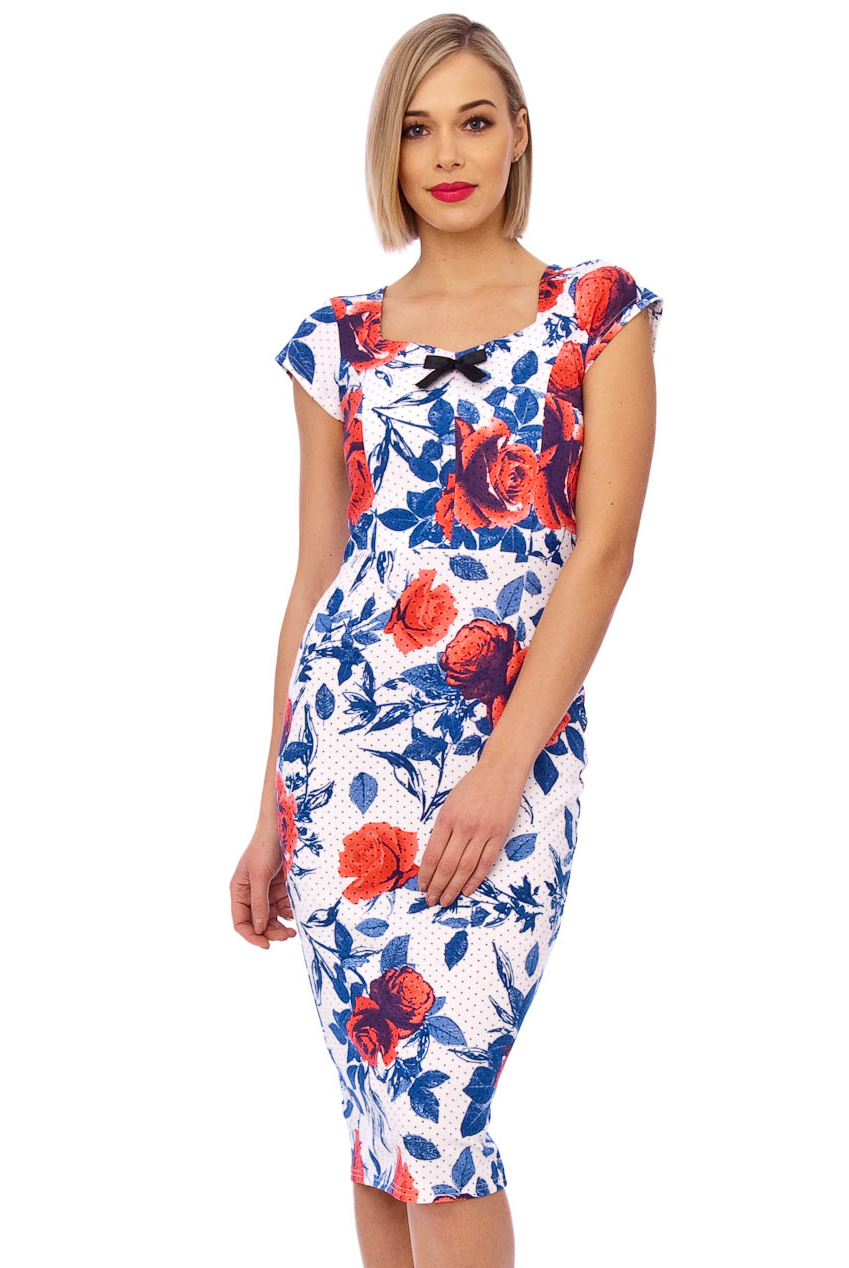 Cynthia 50s Bow Midi Pencil Floral Dress