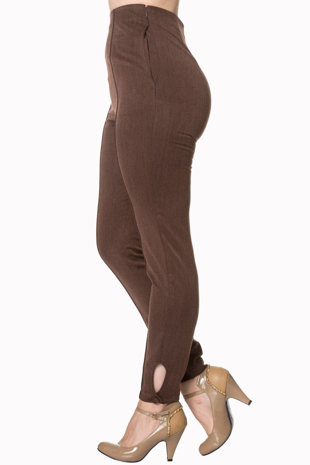 Banned Retro Tempting Fate Brown 50s Trousers