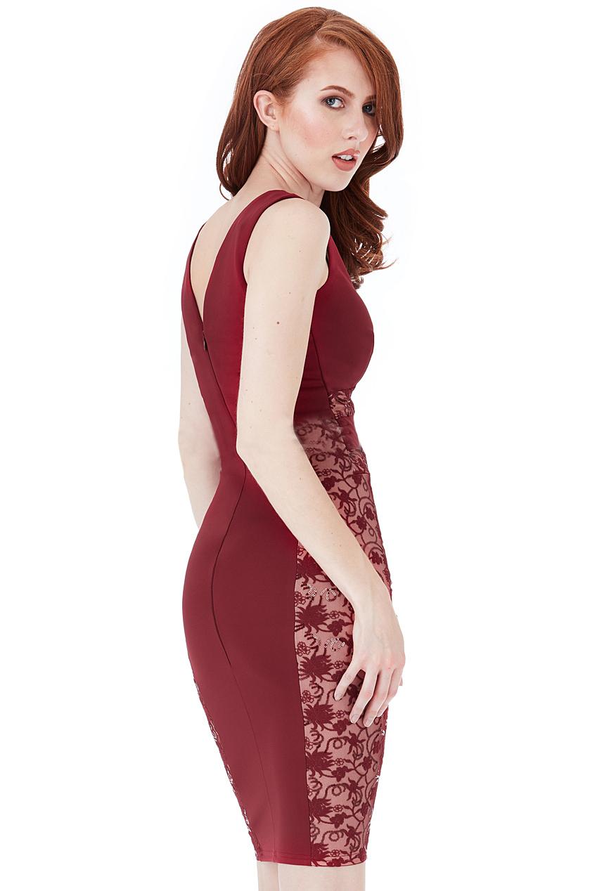 Andrea Glitter Lace Panel Mini Red Dress