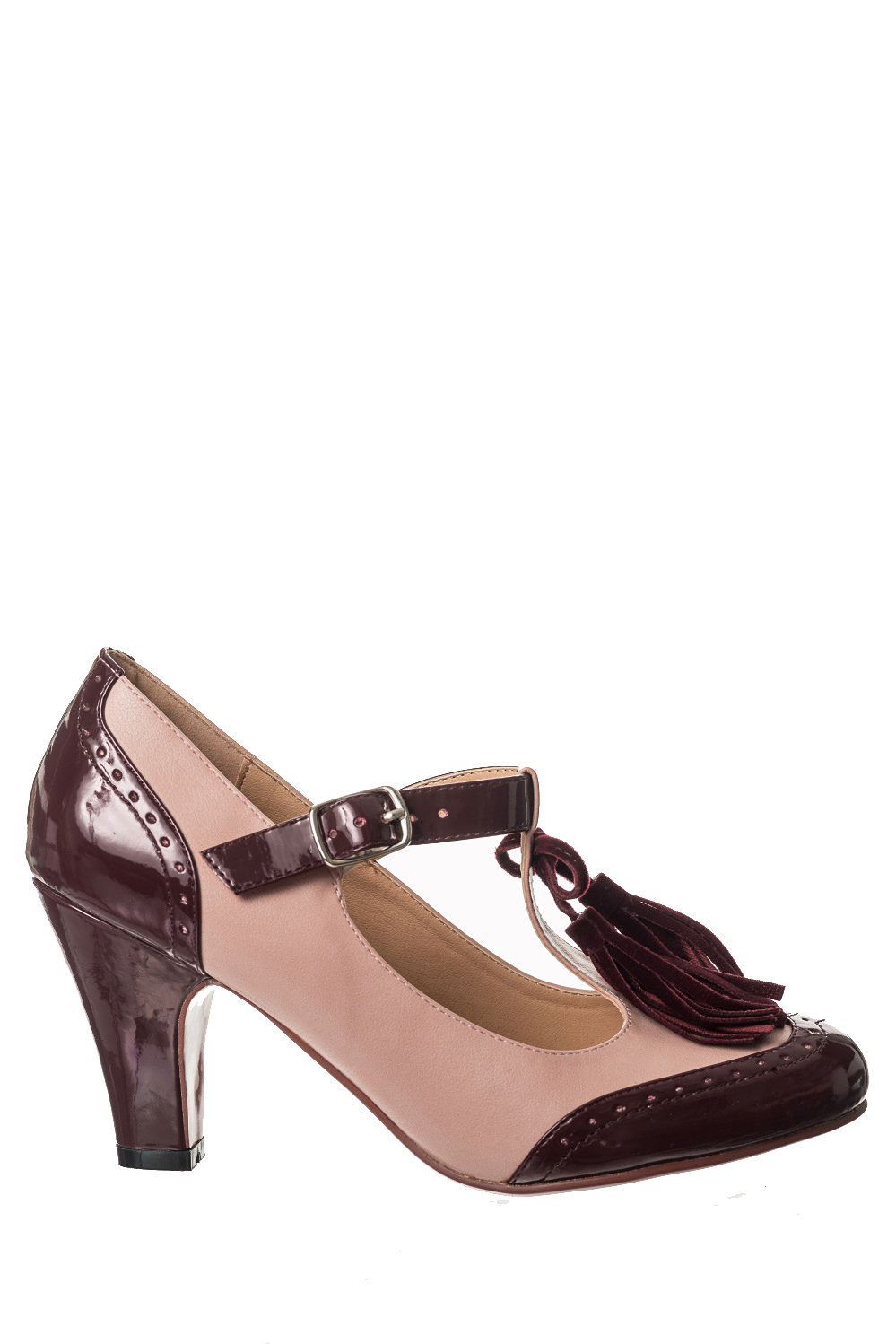 Dancing Days Baby Loves That Way 60s Burgundy Brogue Shoes
