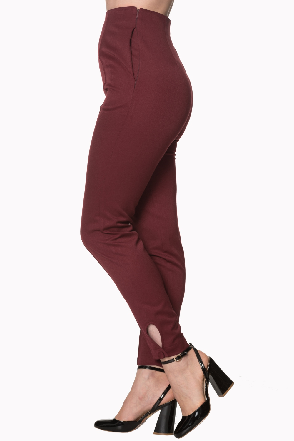 Banned Retro Tempting Fate Burgundy 50s Trousers