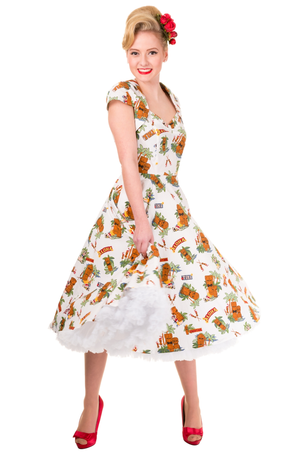 Banned Dreamer Cap Sleeve Tiki Rockbailly Dress With Optional Petticoat