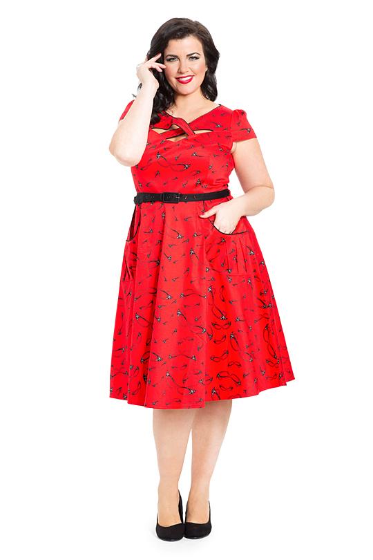 Voodoo Vixen Connie Dress Red Vintage 50s Plus Size Dress Free