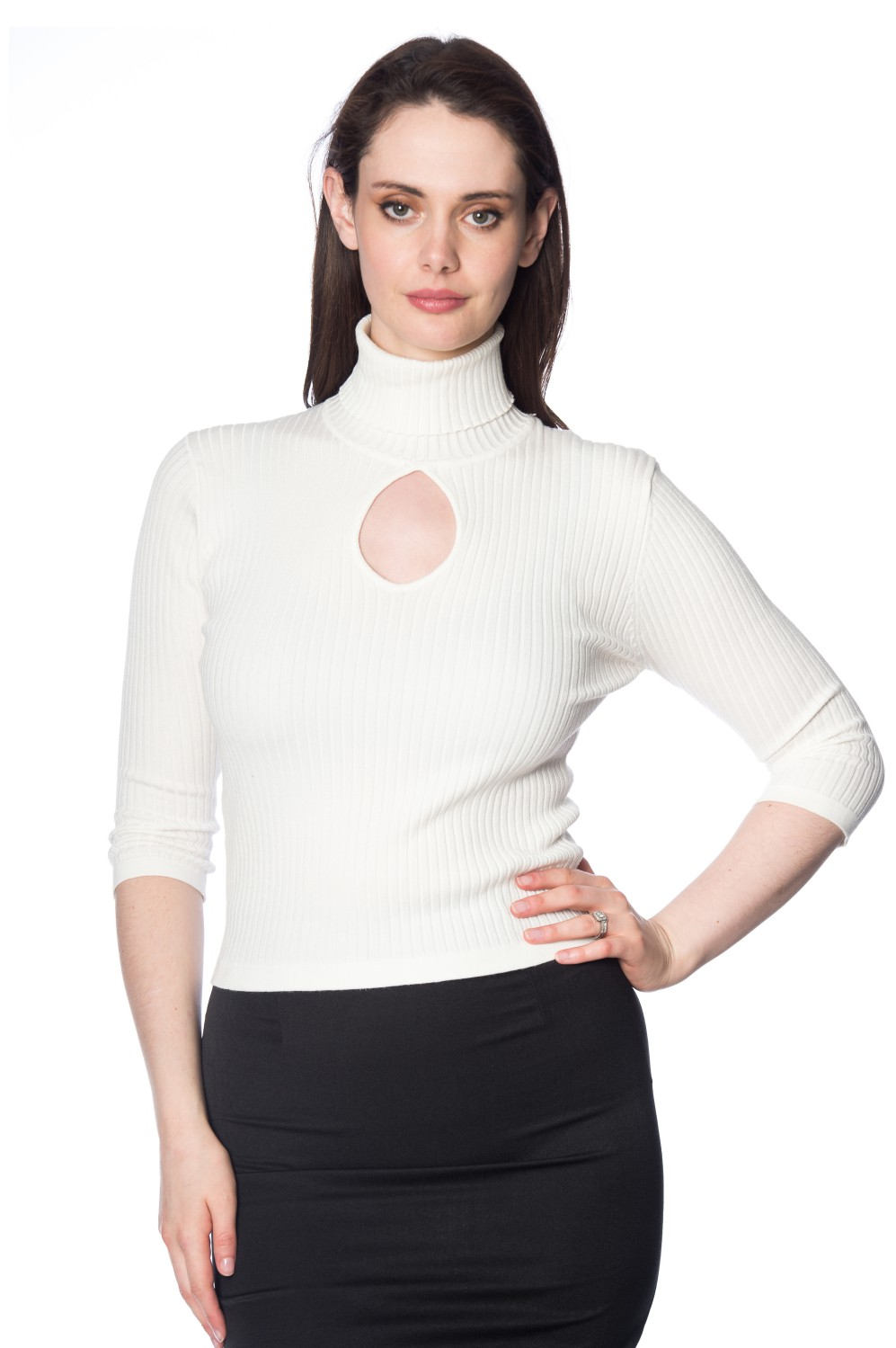 Banned Retro 60s Cream Louise Turtleneck Knit Top