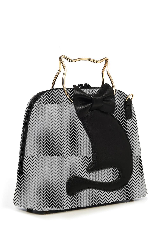 Banned Retro 50s Dixie Herringbone Cat Bag