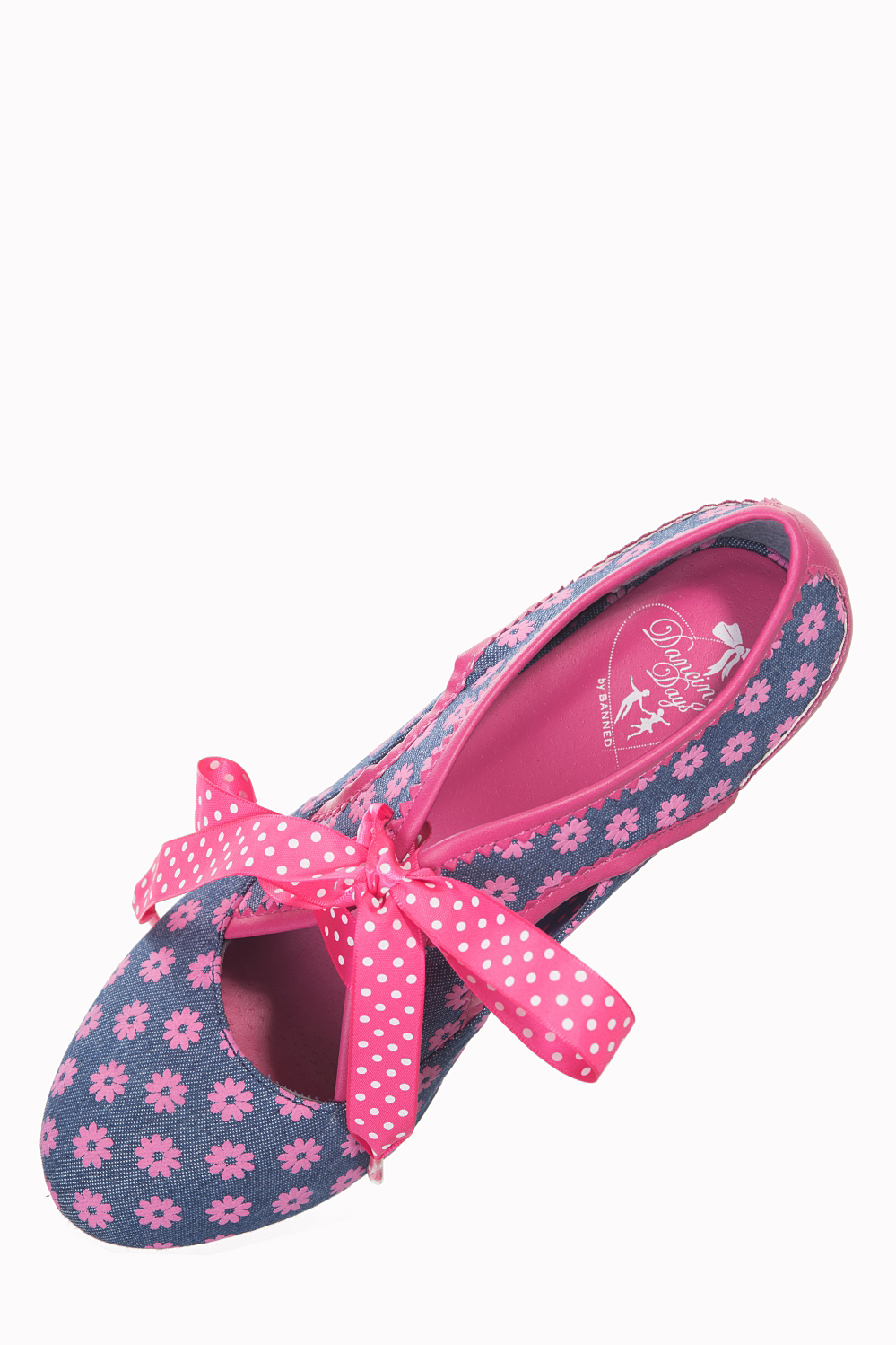 Dancing Days 50s Daisy Denim Pink Shoes