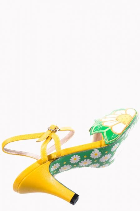 60s Daisy Peeptoe Sandals In Yellow