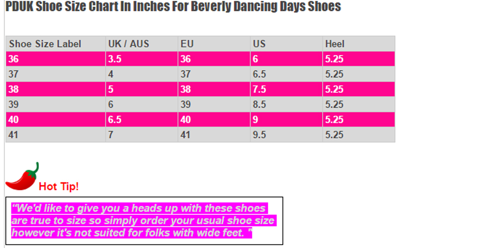 Dancing Days Nude Beverly Shoe Size Chart