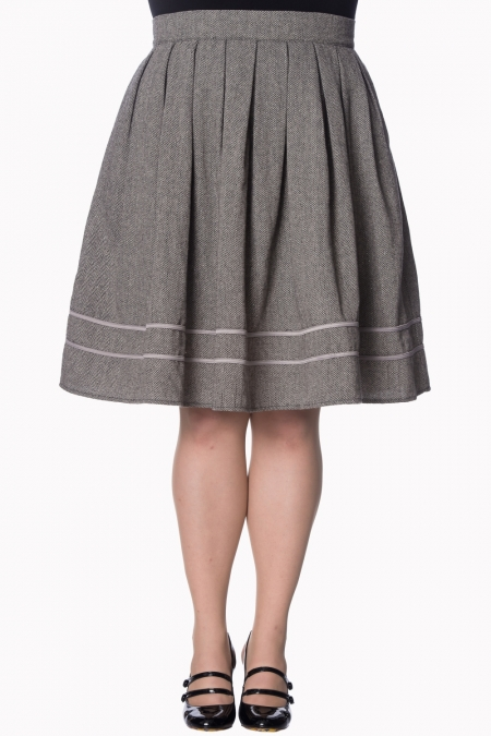 Dancing Days By Banned 50s Izzy Swing Skirt In Herringbone Grey