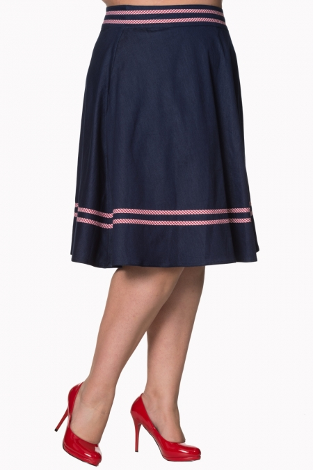 Dancing Days by Banned 50s J'adore Swing Skirt in Navy