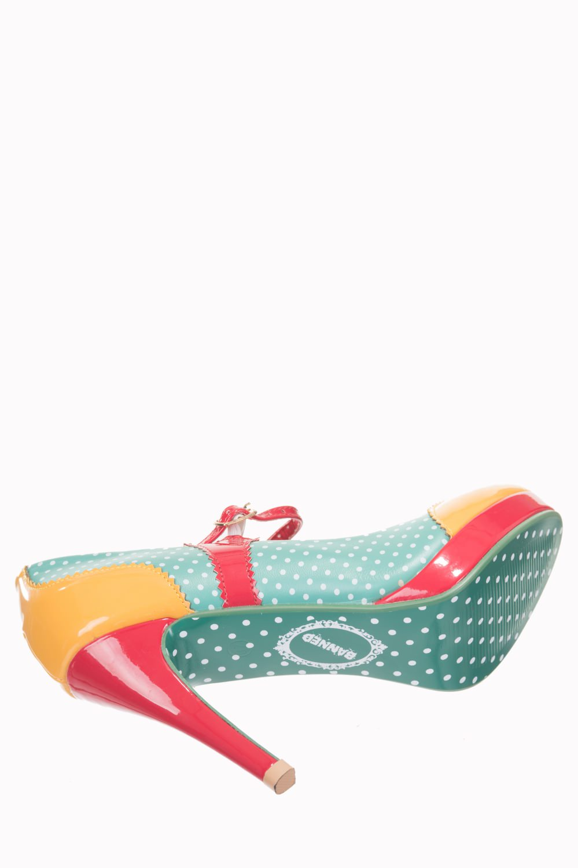 Dancing Days Mary Jane Amber Aqua 50s Polka Dot Shoes