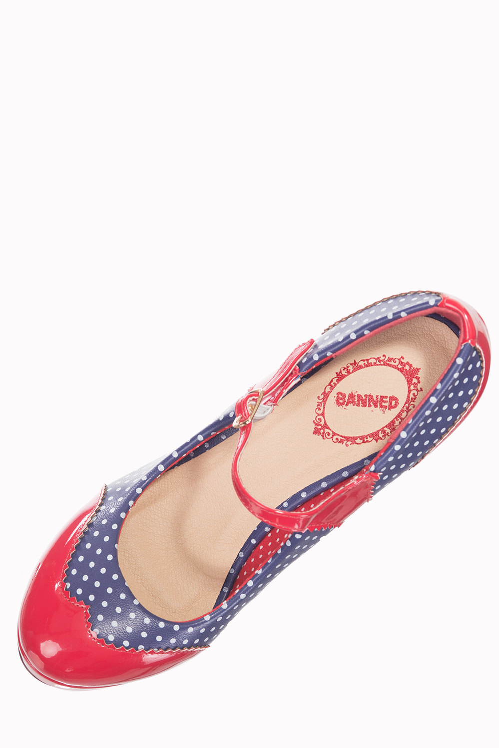 Dancing Days Mary Jane Navy Red 50s Polka Dot Shoes