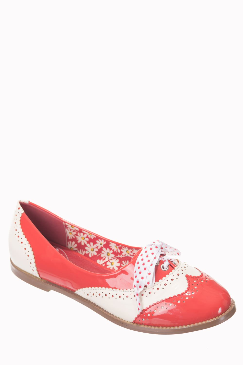 Dancing Days Milana 60s Brogue Red Cream Shoes