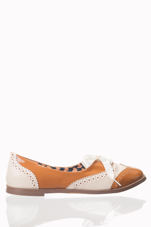 Dancing Days Milana 60s Brogue Tan Shoes
