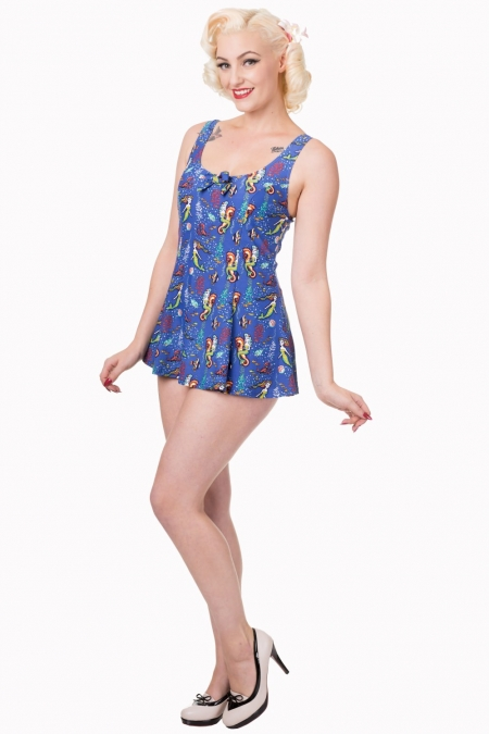Dancing Days 50s Wilderness Bow Mermaid Swimsuit In Blue