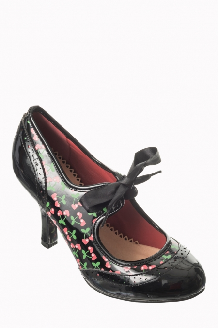 Dancing Days By Banned Cherry 50s Patent Black Shoes