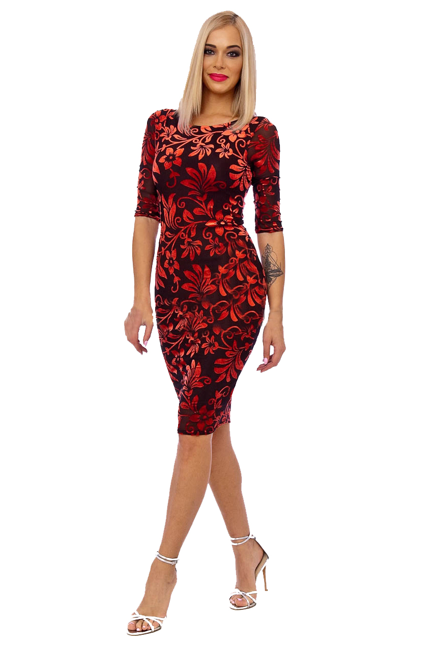Red Brown 50s Floral Wiggle Devore Dress