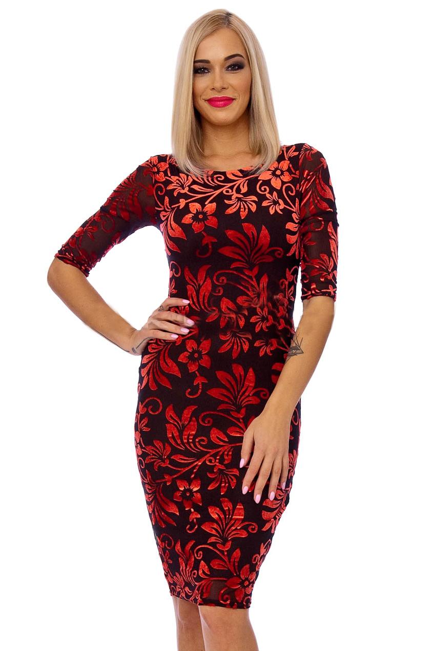 Red Brown 50s Floral Wiggle Devore Dress
